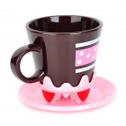 Creative Cake Style Water / Coffee / Milk Cup - Pink + Black (400mL)