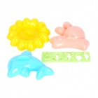 DIY 4-in-1 Rabbit / Dolphin / Flower / Expressions Molds Set for Cake / Chocolate / Onigiri