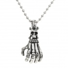 SHIYING G506132AF3727F Men's Stylish Hand Skeleton Style Pendant Necklace - Silver Black