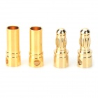 3.5mm Male + Female Banana Head AV Connector - Coppery (2 Pairs)