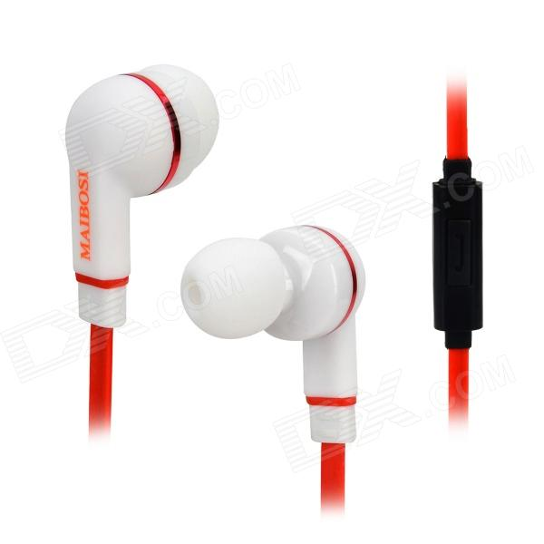 MAIBOSI MA-513 Fashion Universal In-Ear Earphones w/ Microphone - Red + White + Black (3.5mm Plug) gulun gl548 universal mobile phone 3 5mm in ear style earphones black silver cable 140cm