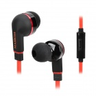 MAIBOSI MA-513 Stylish In-Ear Flat Cable Earphones w/ Microphone - Black + Red (3.5mm Plug / 124cm)