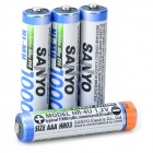 SANYO '1000mAh' Rechargeable NiMH AAA Battery - Cyan + Black (4 PCS)