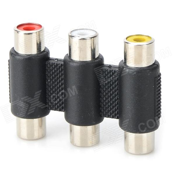 3 x RCA Female to 3 x RCA Female Adapter - Black + White + Yellow + Red