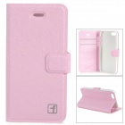 Flower Show Protective PU + PC Case w/ Holder / Card Slot for IPHONE 5 / 5S - Pink