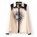 COCO S KISS 2014 New Spring. All-match Baroque Positioning Printing Shirt - Black + Cream (Size-L)