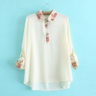 Vintage Floral Flower Color Shirt - White (Size-L)