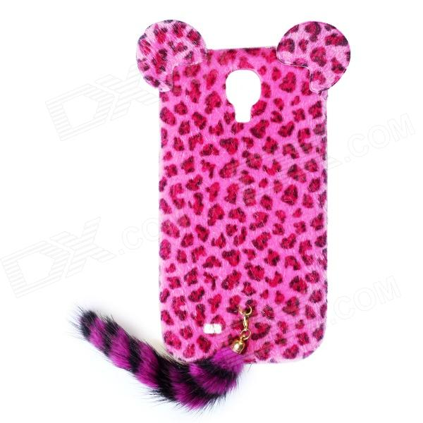 Leopard Print Pattern Protective Plastic Back Case w/ Tail for Samsung Galaxy S4 i9500 - Deep Pink protective cute spots pattern back case for samsung galaxy s4 i9500 multicolored