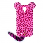 Leopard Print Pattern Protective Plastic Back Case w/ Tail for Samsung Galaxy S4 i9500 - Deep Pink