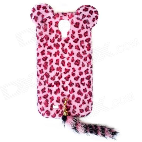 Sexy Leopard Print Pattern Protective Plastic Back Case w/ Tail for Samsung Galaxy S4 i9500 - Pink protective cute spots pattern back case for samsung galaxy s4 i9500 multicolored