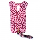 Sexy Leopard Print Pattern Protective Plastic Back Case w/ Tail for Samsung Galaxy S4 i9500 - Pink