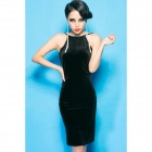 TSE-003 Woman's Sexy Backless Skinny Velvet Dress - Black