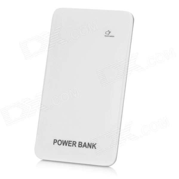 BP Ultra-thin 5000mAh Touch Switch Mobile Power Source for IPHONE / Samsung / HTC - White + Silver bp 15000mah dual usb mobile power source bank for iphone 5s samsung htc white green