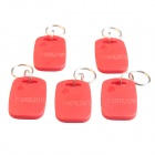 MXC3 Door Access Control Rectangle ID Card Keychain - Red + Silver (125KHz / 5 PCS)