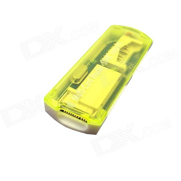 USB 2.0 multi-en-1 SD / MMC / TF / MS / lecteur de carte T-Flash - jaune translucide