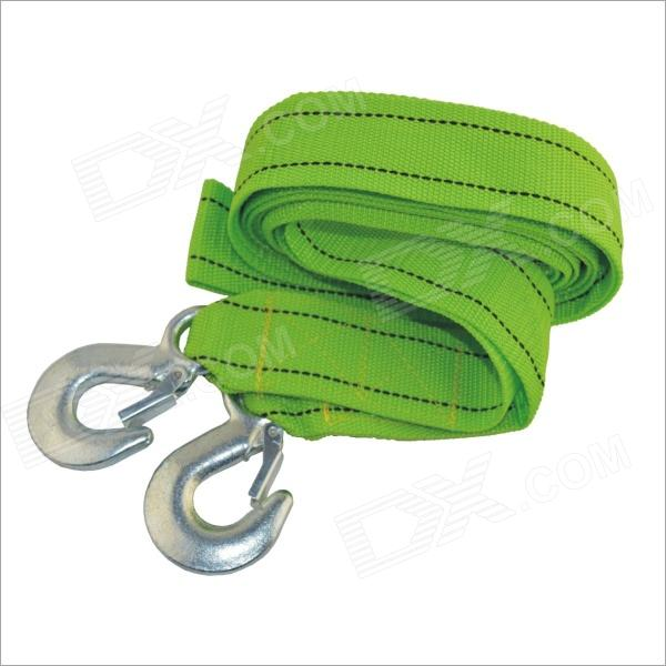 ZY-108 3 Ton Nylon Heavy Duty Car Tow Rope w/ Double Hooks - Green (4m)