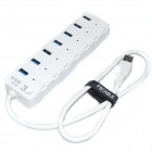 Fscable MP15 Super Speed 7-Port USB 3.0 Hub w/ Power Switch / Indicator for Laptop Notebook - White