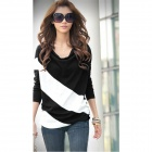 Fashion Cotton Long-Sleeve Loose Shirt for Women - Black + White (L)