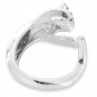 Cute Kitty Style Crystal Inlaid Ring - Silver