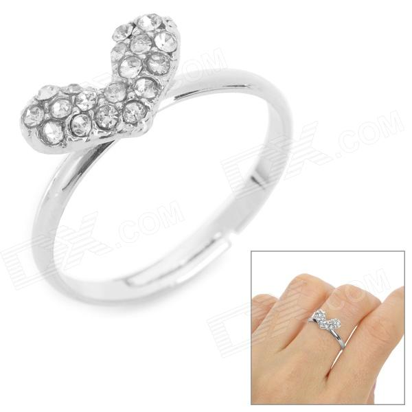 Heart Shaped Silver Plated Fashion Women's Ring - Silver