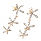 Fashionable Shining Rhinestone Flowers Shape Women's Ear Studs - Silver + Golden (Pair)