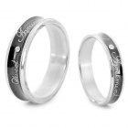 SHIYING JZ082 Stylish English Lettering 316L Stainless Steel Couple's Ring - Black + Silver (2 PCS)