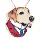 Suit Dog Sweater Wood Necklace - White + Red + Multi-Colored
