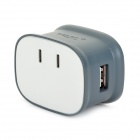 Portable 2.1A AC Charger w/ Dual USB Output - White + Deep Grey (85~265V)