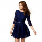 Woman's Stylish Jacquard Weave Sunflower Pattern Lace Dress - Blue (M)