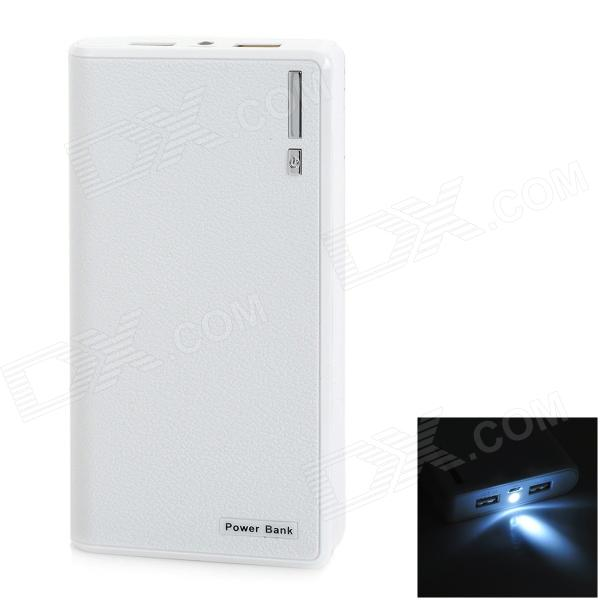 """22000mAh"" External Battery Charger Power Bank w/ USB Cable - White"