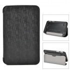 Multi-Functional Plastic + PU Smart Case w/ Stand / Dustproof Plug for Samsung Galaxy Tab 3 - Black