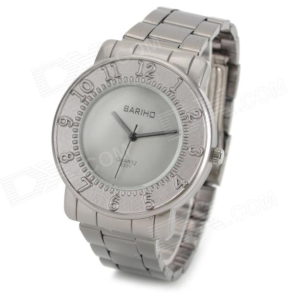 BARIHO E501 Stainless Steel Band Quartz Wrist Watch w/ Number Mark - Grey (1 x 626)