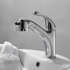 Contemporary Chrome Finish Single Handle One Hole Centerset Pull-out Spray Bathroom Sink Faucet