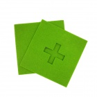 Square Shaped Absorbent Anti-slip Heat Plus Insulation Mat / Pad for Dishware / Cup - Green
