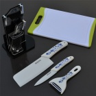 "BESTLEAD 4"" / 6.5' Ceramic Knives + Peeler + Chopping Board + Stand Set - White + Blue"