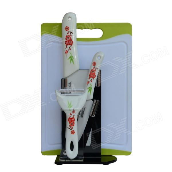 BESTLEAD 4 Ceramics Knife + 6.5 Kitchen Knife + Peeler + Choping Board + Holder Set - White + Red bestlead 4 6 ceramics knife peeler set blue white
