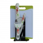 "BESTLEAD 4"" Ceramics Knife + 6.5"" Kitchen Knife + Peeler + Choping Board + Holder Set - White + Red"