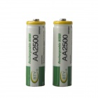 BTY Rechargeable 1.2V AA 600mAh Batteries - Green + Silver (2 PCS)