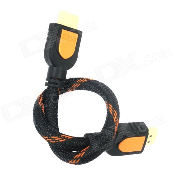 Eastor HDMI Male to Male Connecting Cable w/ Support 3D Video Signal - Black + Orange (30cm) gold plated nylon braided hdmi cable hdmi 2 0 4k x 2k ethernet support video 4k 2160p hd 1080p 3d 1 5m 3m 5m 10m 15m 20m