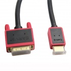 24K Gold-Plated HDMI Male to DVI 24+1 Male Cable - Black + Red (1.8m)