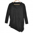 V-Collar Cotton Long Sleeve Blousing Blouse - Dark Grey (L)