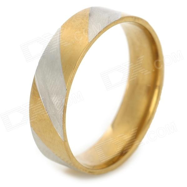 SHIYING JZ064 316L Stainless Steel Finger Ring for Men - Golden + Silver shiying jz057 cross style stainless steel ring for men blue silver