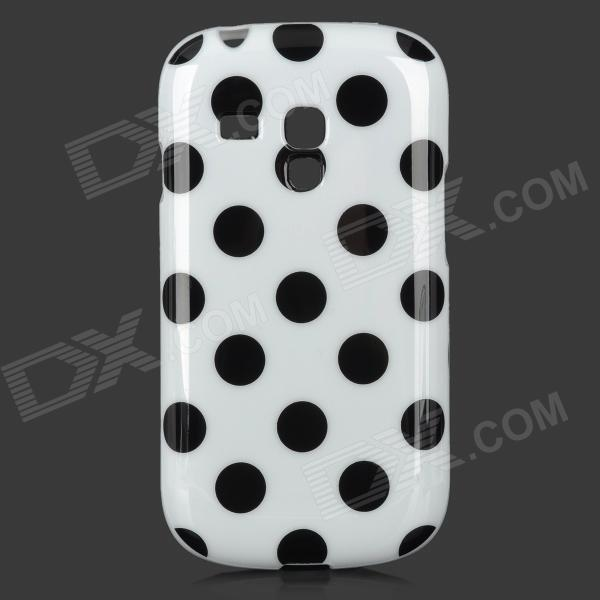 Polka Dot Style Protective TPU Back Case for Samsung Galaxy S3 Mini i8190 - White + Black matte protective pe back case for htc one x s720e red