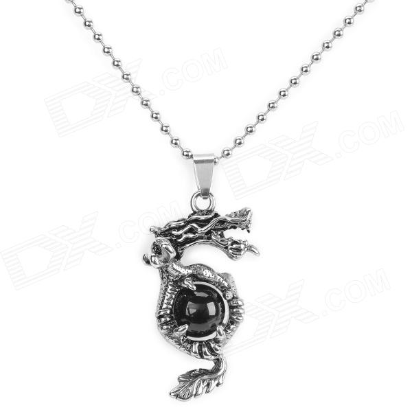 цены SHIYING C7B3 316L Stainless Steel Necklace - Antique Silver + Black