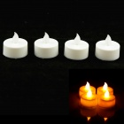 PZCD MY-05 Round Style Flame Twinkle LED White Candle w/ Yellow Light  (4 PCS / 4 x CR2032)