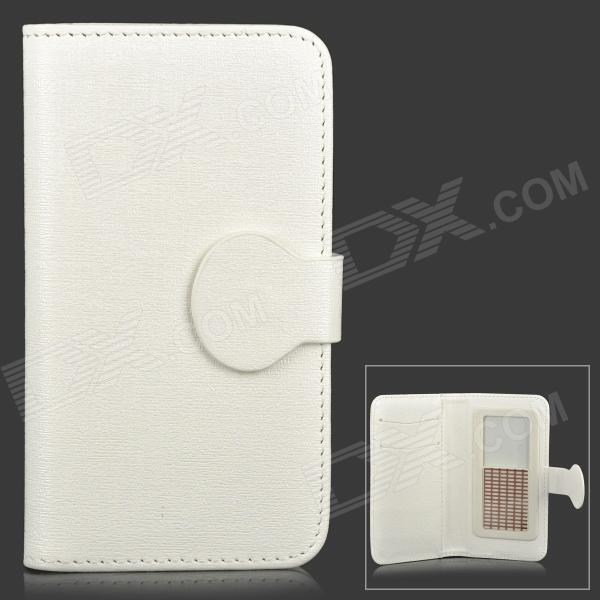 "Universal Slide Style PU Leather Case for 4.0"" Cell Phone - White"