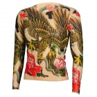 JUQI Tattoo Pattern Nylon + Spandex Long Sleeves T-shirt - Black + Yellow + Multicolored (Free Size)