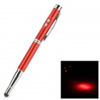 4-in-1 Capacitive Touch Screen Stylus Pen w/ Ballpoint Pen / LED Flashlight / Laser Pointer - Red
