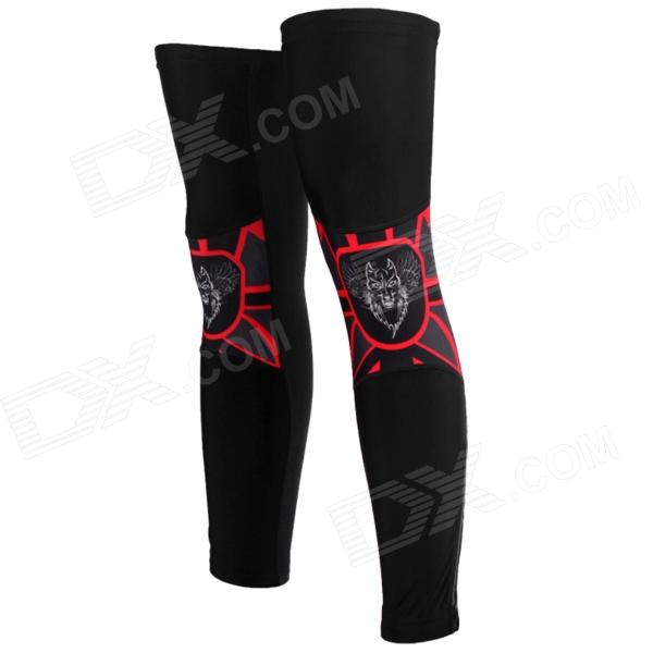 TOPCYCLING SAF206 Outdoor Cycling Nylon + Spandex Leg Sleeves - Black + Red (Size L)