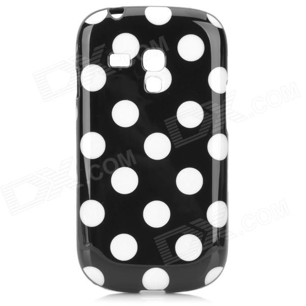 Polka Dot Style Protective TPU Back Case for Samsung Galaxy S3 Mini i8190 - Black + White replacement 3 7v 3500mah battery pack back case for samsung i8190 galaxy s3 mini black white